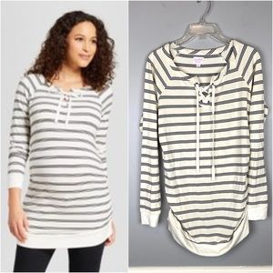 Isabel Maternity Striped Pullover Sweatshirt Tunic